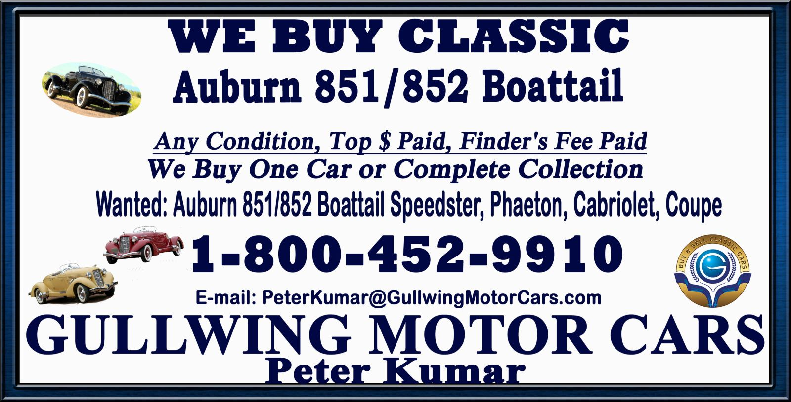 Sell Classic Auburn 851 Boattail | Call Gullwing Motor if Vintage Auburn 851 Boattail For Sale