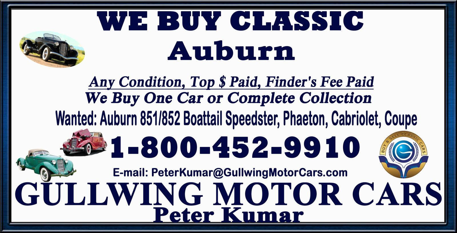 Sell Classic Auburn Speedster | Call Gullwing Motor if Vintage Auburn Speedster For Sale