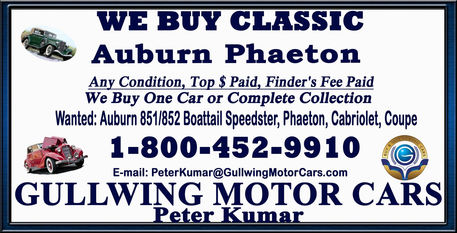 Sell Classic Auburn Phaeton | Call Gullwing Motor if Vintage Auburn Phaeton For Sale