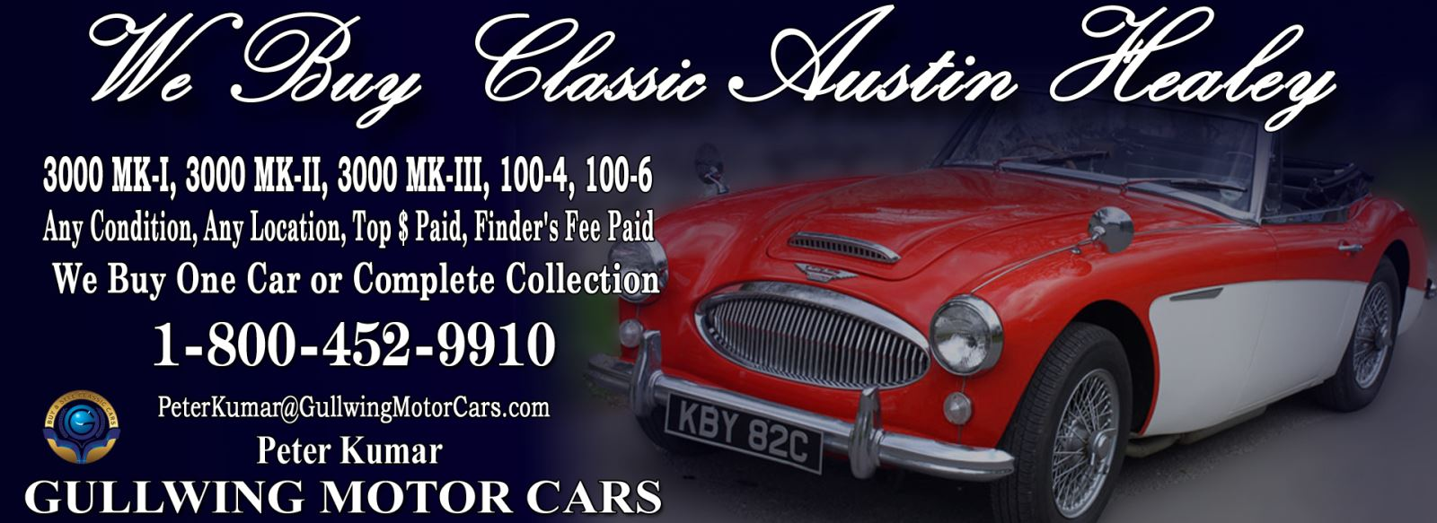 Classic Austin Healey 3000 Mark I for sale, we buy vintage Austin Healey MKI. Call Peter Kumar. Gullwing Motor