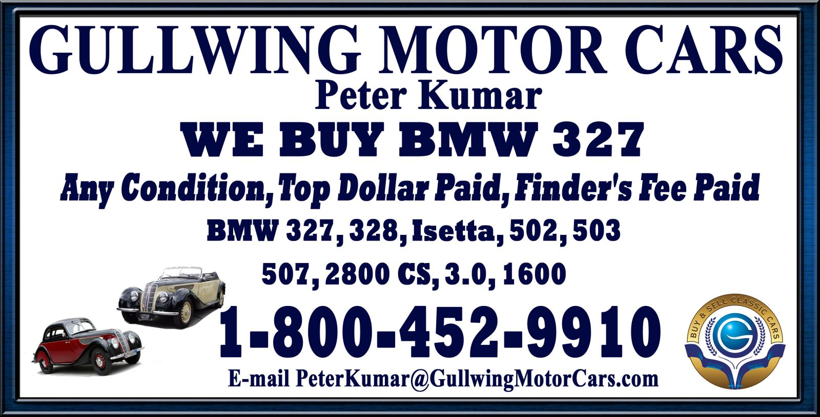 Sell Classic BMW 327 | Call Gullwing Motor if Vintage BMW 327 For Sale