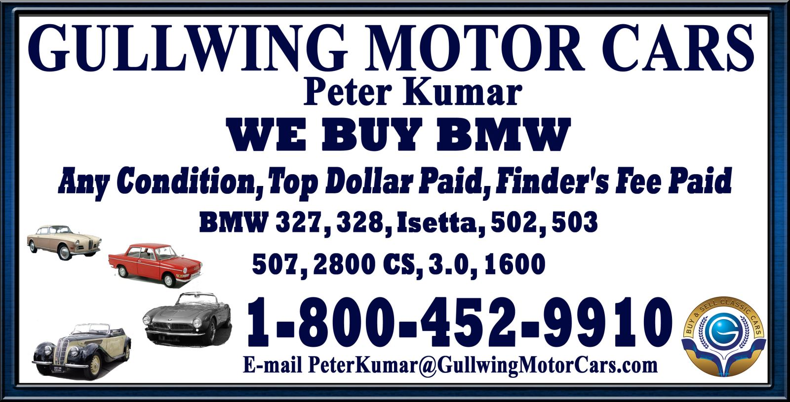 Sell Classic BMW 3200 | Call Gullwing Motor if Vintage BMW 3200 For Sale