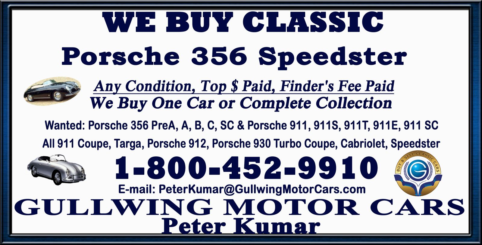 Sell Classic Porsche 356 Speedster | Call Gullwing Motor if Vintage Porsche 356Speedster For Sale