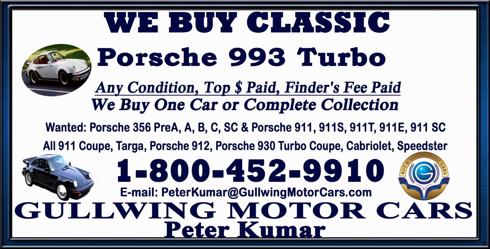 Classic Porsche 993 for sale, we buy vintage Porsche 993. Call Peter Kumar. Gullwing Motor