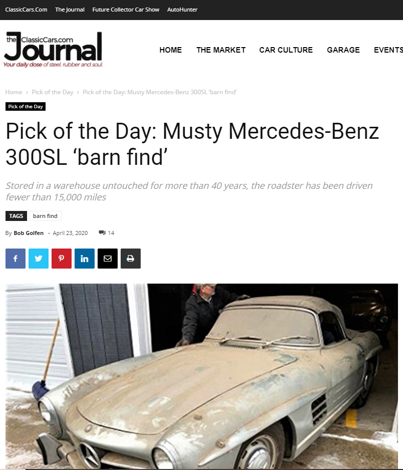 Peter Kumar buys Classic Mercedes. Sell barnfind Mercedes Benz. Gullwing Motor Cars