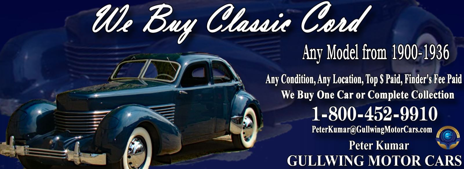 Classic Cord for sale, we buy vintage Cord. Call Peter Kumar. Gullwing Motor