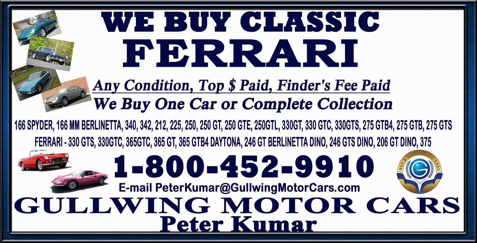 Sell Classic Ferrari | Call Gullwing Motor if Vintage Ferrari For Sale