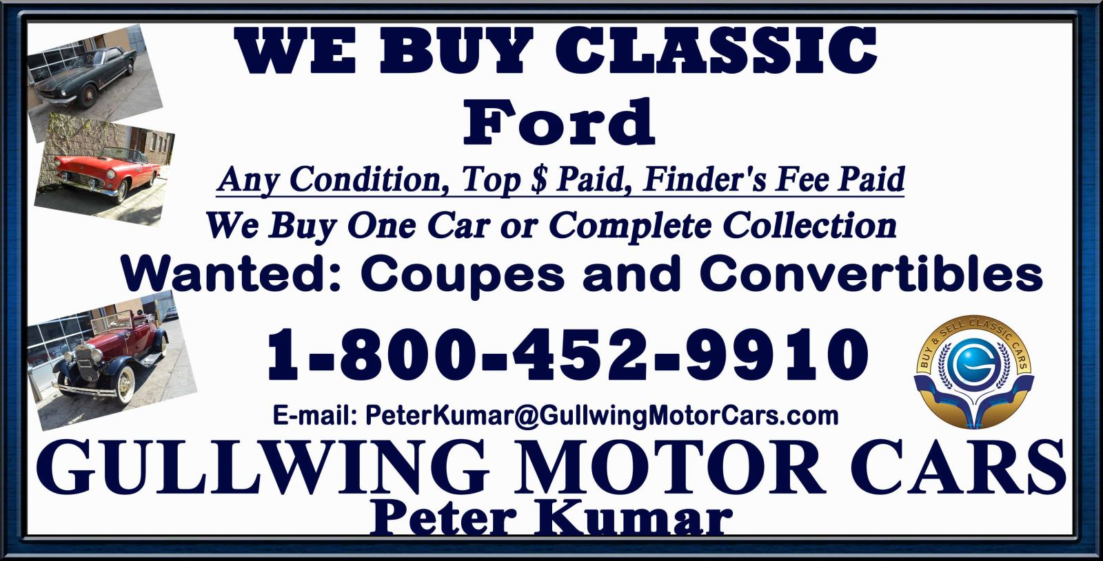 Sell Classic Ford Mustang | Call Gullwing Motor if Vintage Ford Mustang For Sale