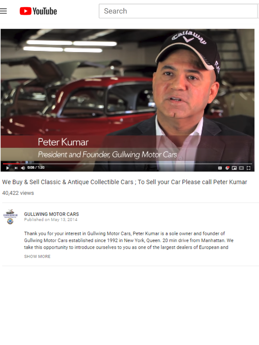 Gullwing Motor Cars, Peter Kumar, Classic Cars Buyer, Sell, For Sale