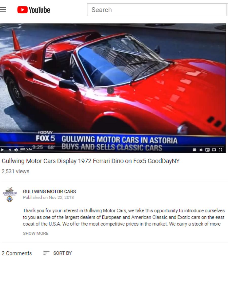Gullwing Motor Cars Display 1972 Ferrari Dino on Fox5 GoodDayNY, Peter Kumar, Classic Car Buyer Seller