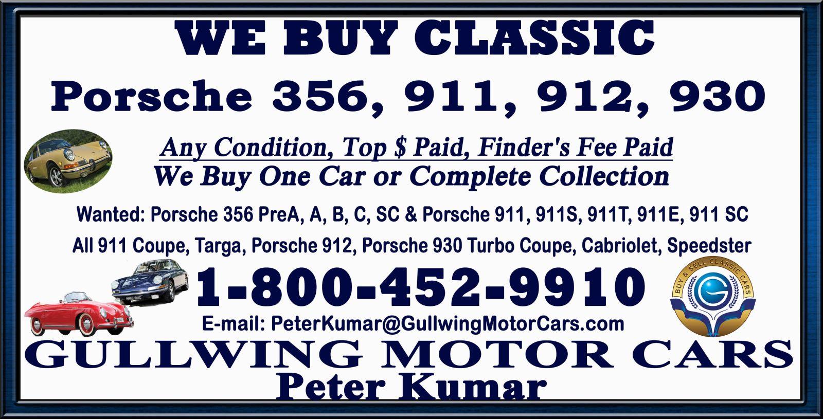 Sell Classic Porsche | Call Gullwing Motor if Vintage Porsche For Sale