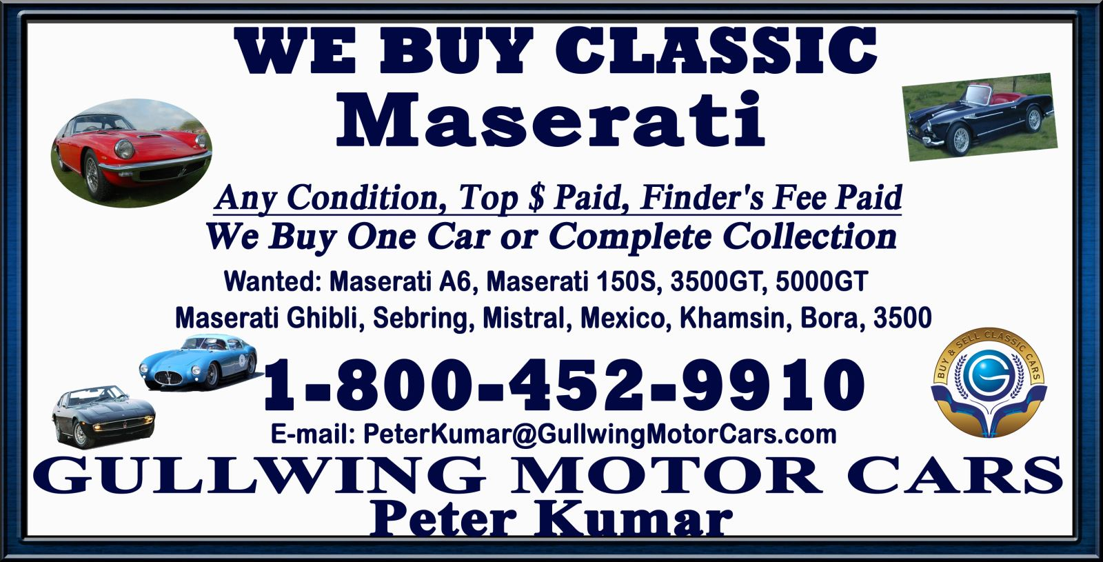 Selling Classic Maserati | Call Gullwing Motor Vintage Maserati For Sale