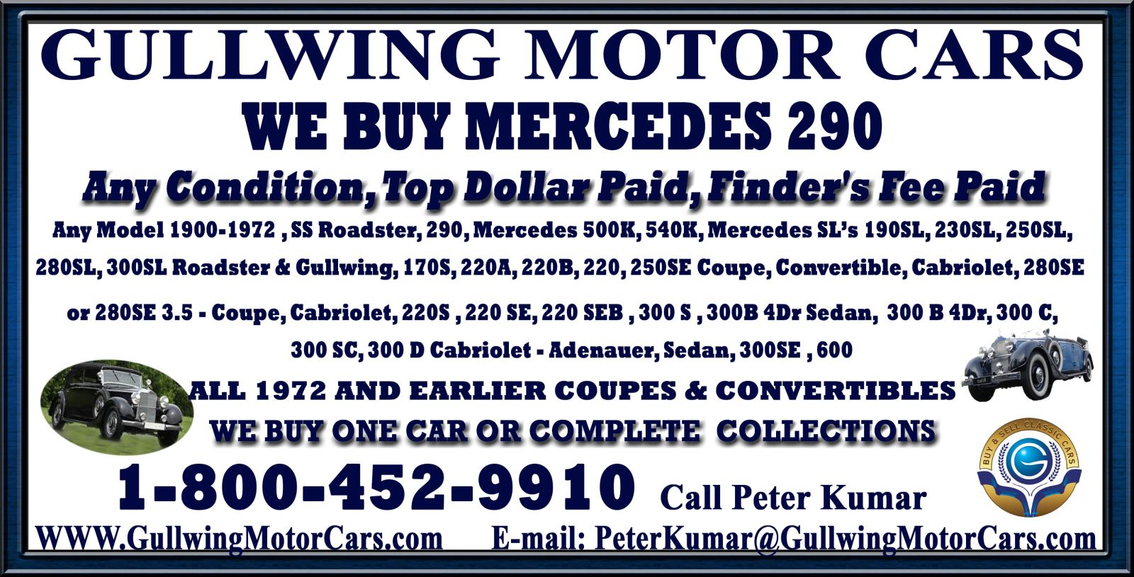 Sell Classic Mercedes 290 | Call Gullwing Motor if Vintage Mercedes 290 For Sale