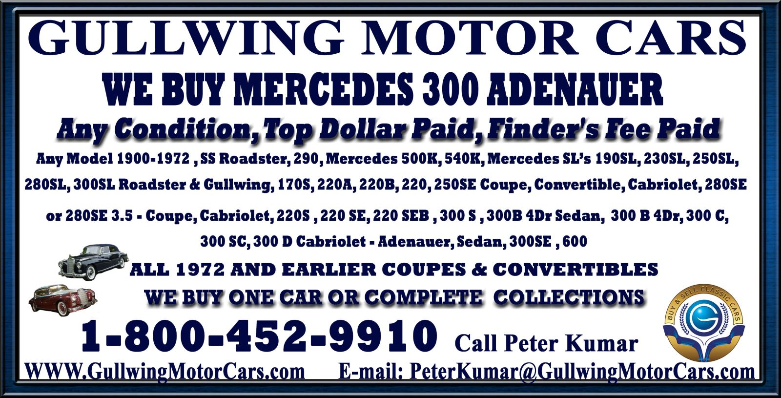 Sell Classic Mercedes 300 Adenauer | Call Gullwing Motor if Vintage Mercedes 300 Adenauer For Sale