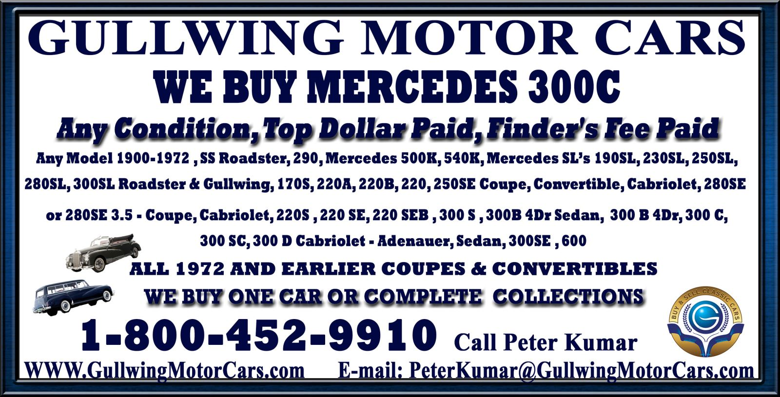 Sell Classic Mercedes 300 C | Call Gullwing Motor if Vintage Mercedes 300 C For Sale
