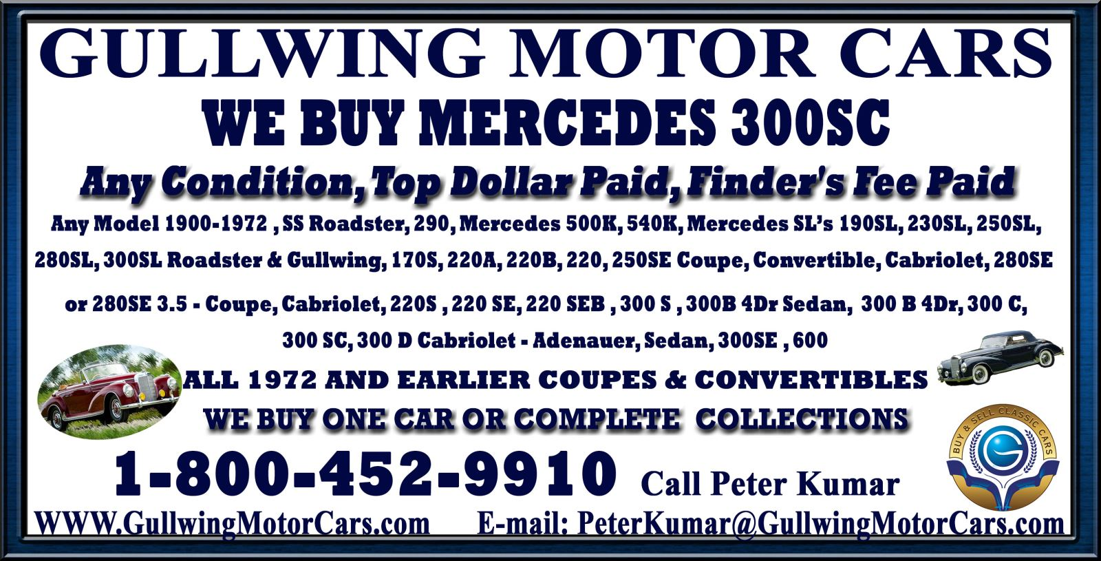 Sell Classic Mercedes 300 SC | Call Gullwing Motor if Vintage Mercedes 300 SC For Sale