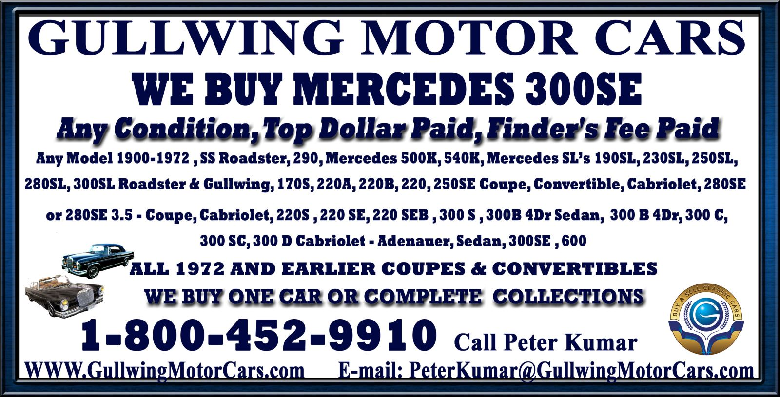 Sell Classic Mercedes 300 SE | Call Gullwing Motor if Vintage Mercedes 300 SE For Sale