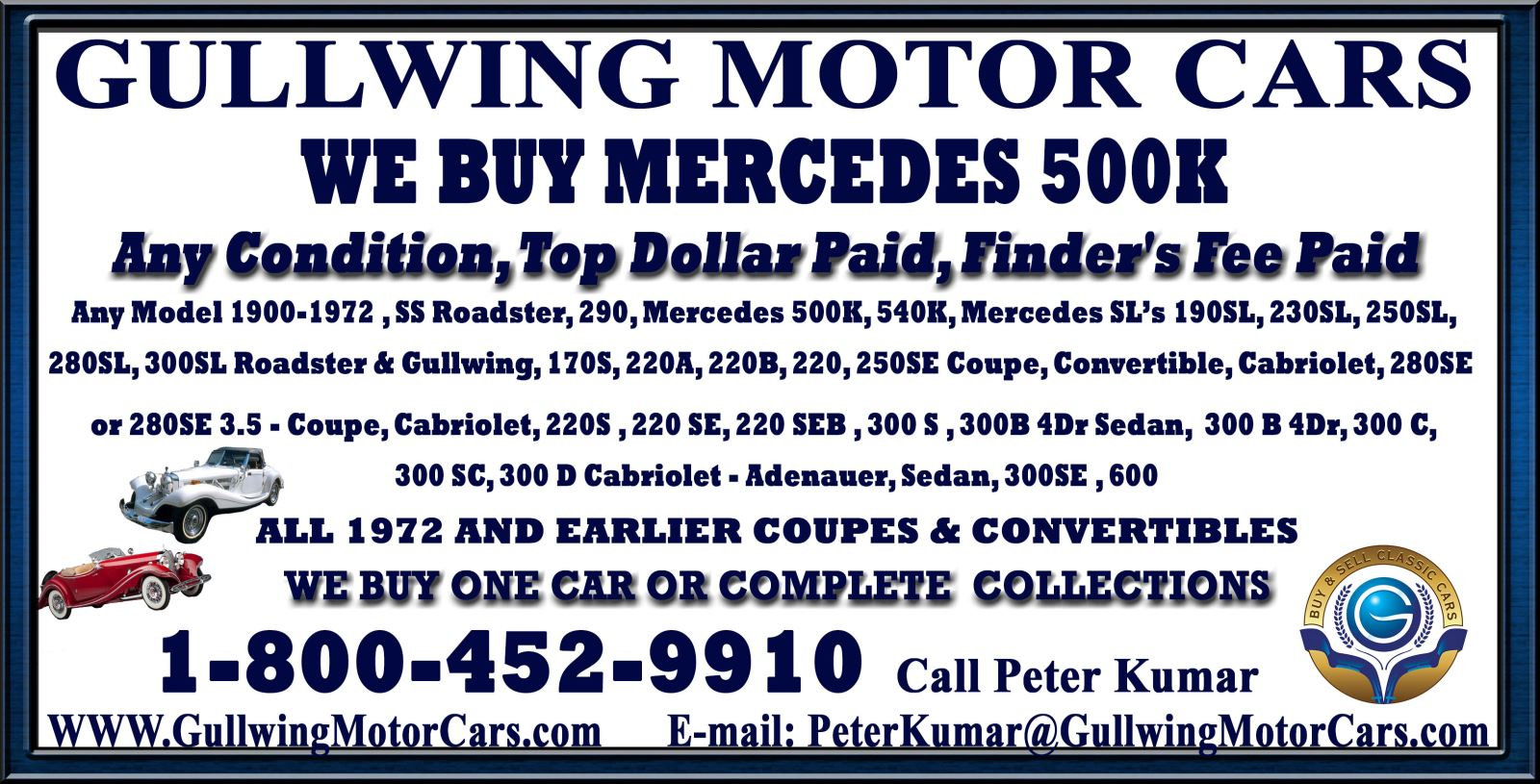 Sell Classic Mercedes 500 K | Call Gullwing Motor if Vintage Mercedes 500 K For Sale