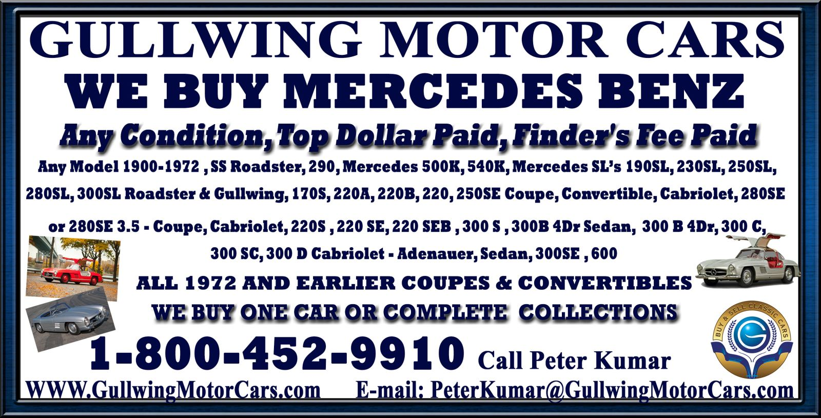Sell Classic Mercedes | Call Us If Vintage Mercedes For Sale | We Buy Collectible Mercedes.