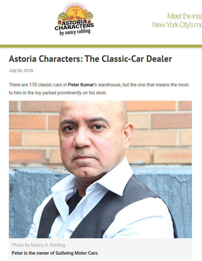 Peter Kumar on Astoria Character. Gullwing Motor Cars. Classic Car buyer.