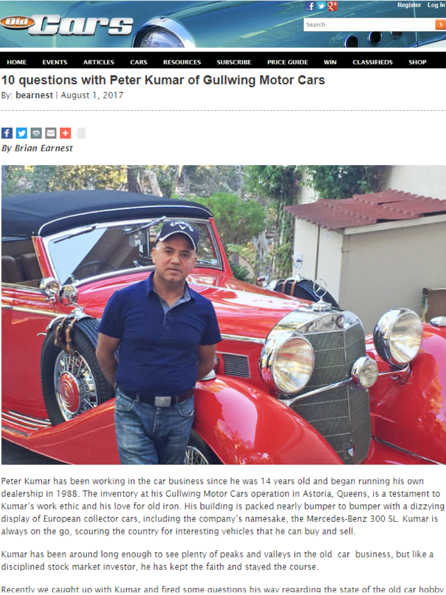 Peter Kumar on Old Cars. We Buy and Sell Classic Cars. Gullwing Motor Cars