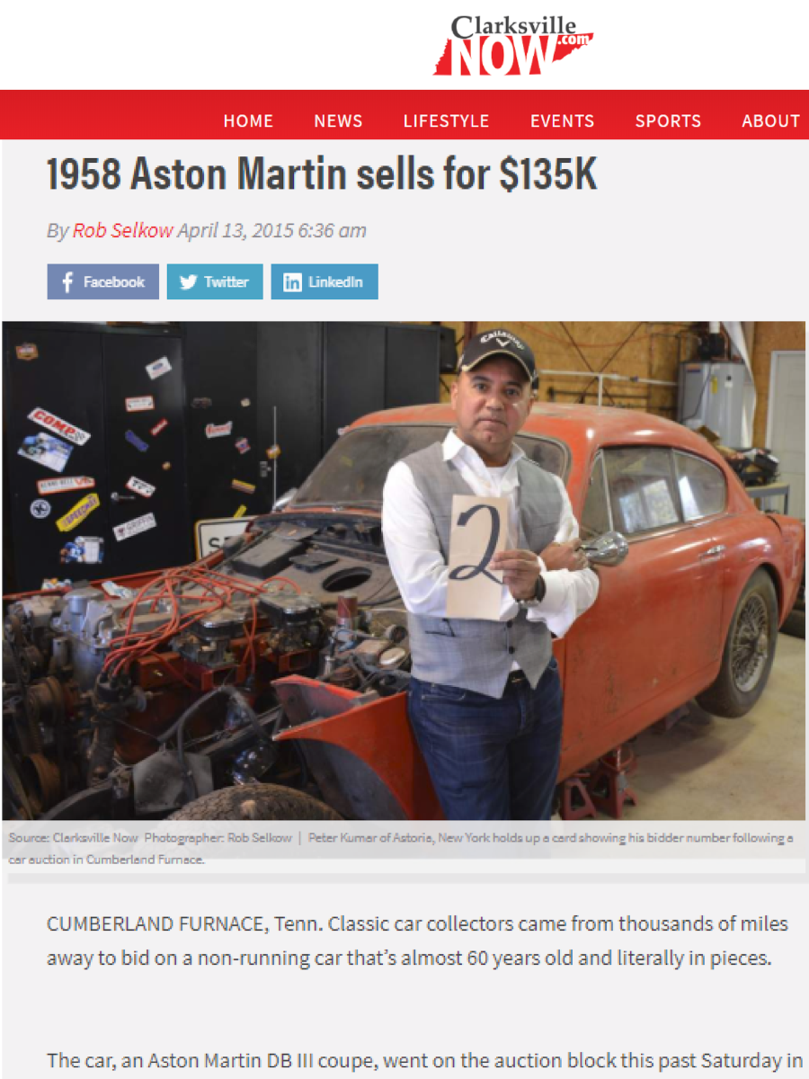 Peter Kumar buys 1958 Aston Martin. Sell Classic Aston Martin. Gullwing Motor Cars
