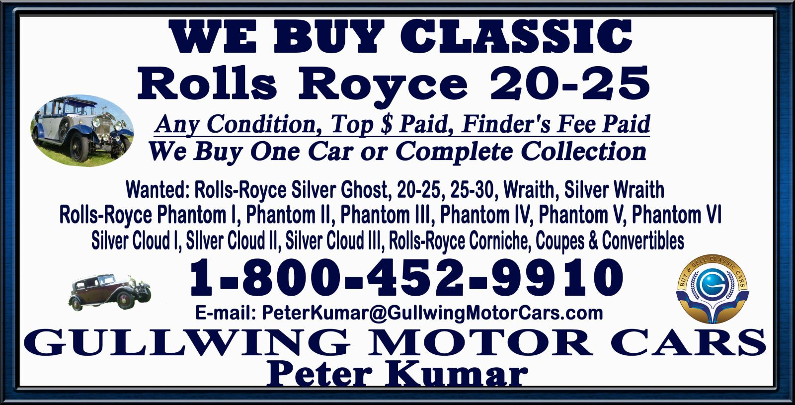 Sell Classic Rolls Royce 20/25 | Call Gullwing Motor if Vintage Rolls Royce 20/25 For Sale