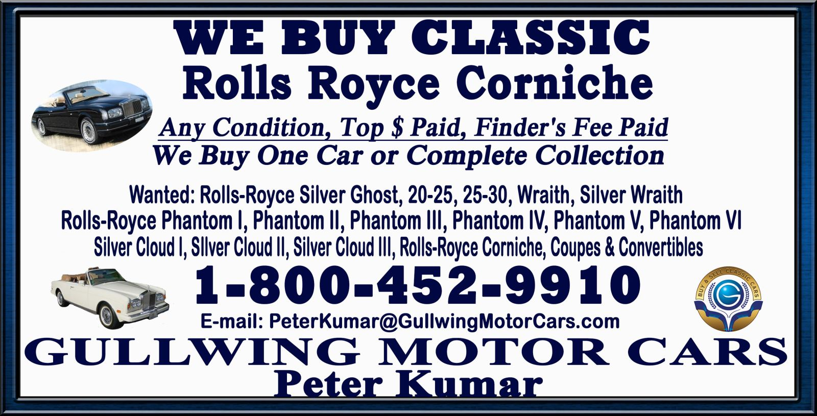 Sell Classic Rolls Royce Corniche | Call Gullwing Motor if Vintage Rolls Royce Corniche For Sale