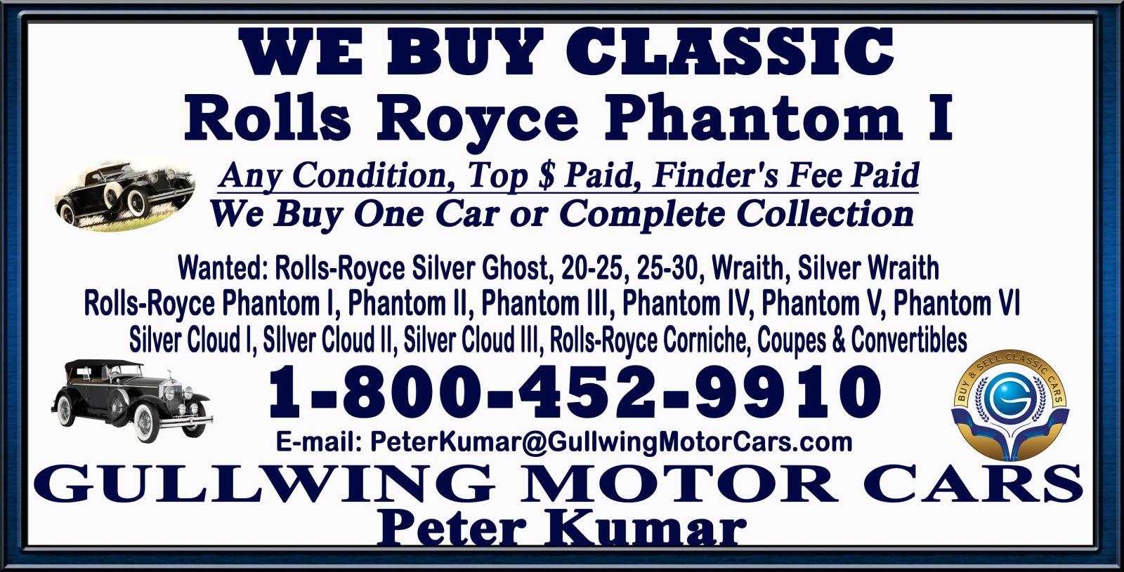 Sell Classic Rolls Royce Phantom I | Call Gullwing Motor if Vintage Rolls Royce Phantom I For Sale