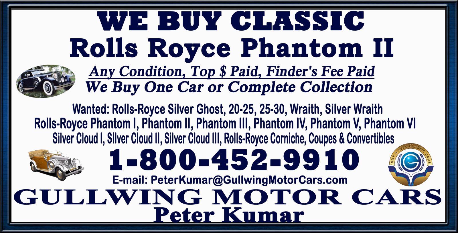 Sell Classic Rolls Royce Phantom II | Call Gullwing Motor if Vintage Rolls Royce Phantom II For Sale