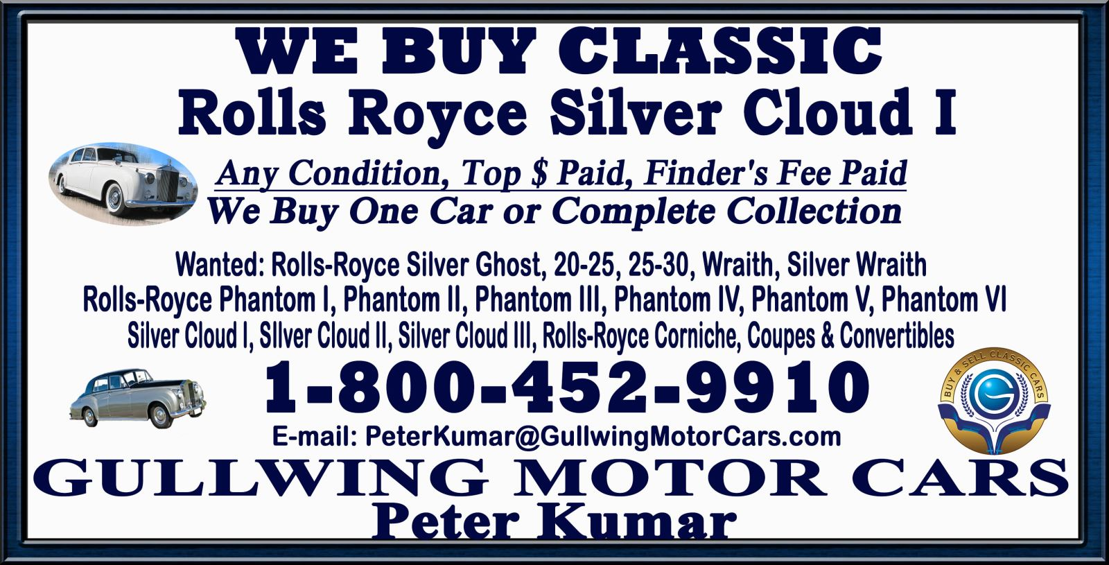 Sell Classic Rolls Royce Silver Cloud I | Call Gullwing Motor if Vintage Rolls Royce Silver Cloud I For Sale