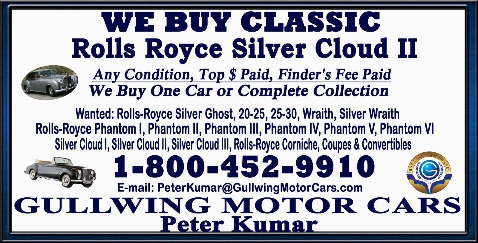 Sell Classic Rolls Royce Silver Cloud II | Call Gullwing Motor if Vintage Rolls Royce Silver Cloud II For Sale