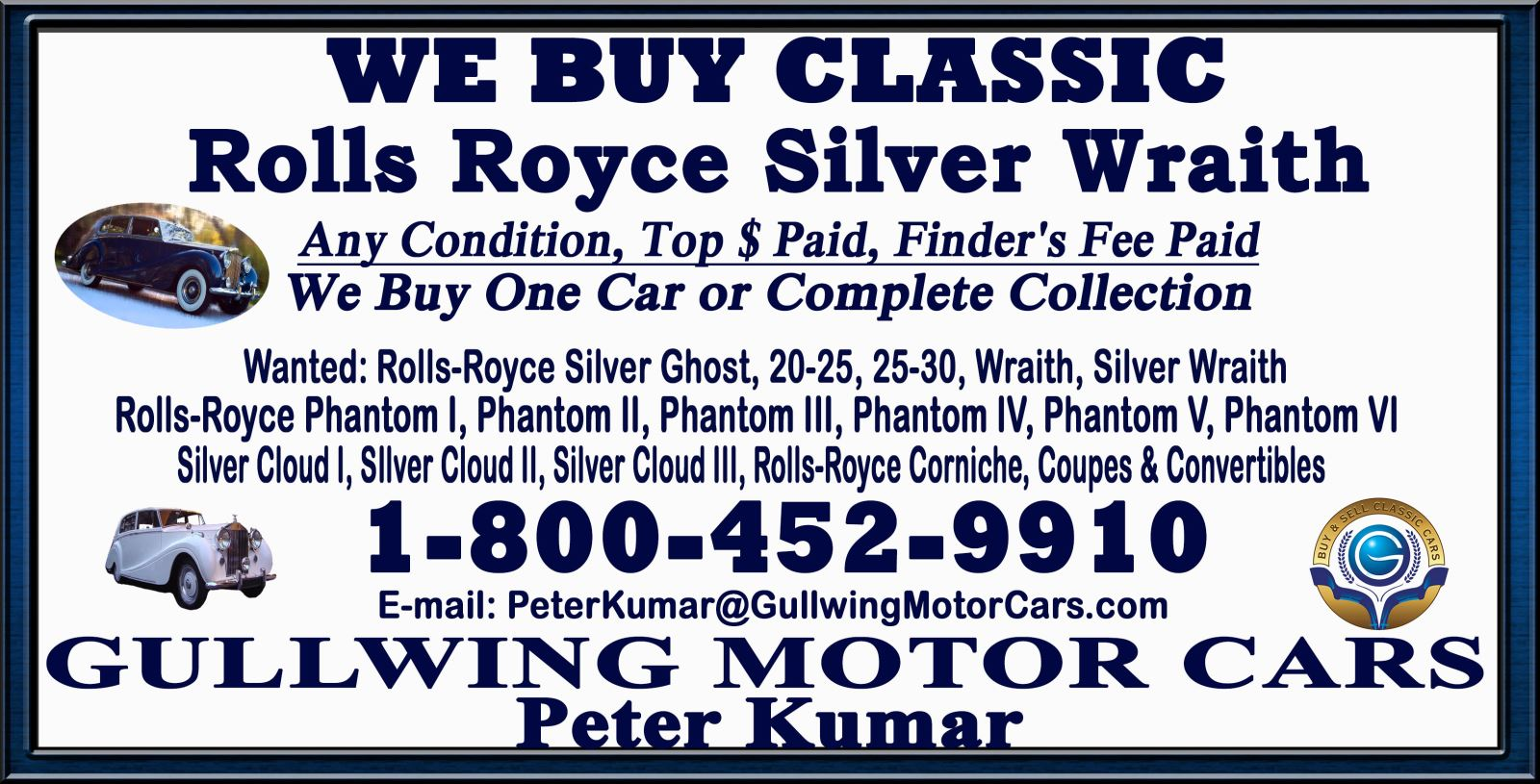 Sell Classic Rolls Royce Silver Ghost | Call Gullwing Motor if Vintage Rolls Royce Silver Ghost For Sale