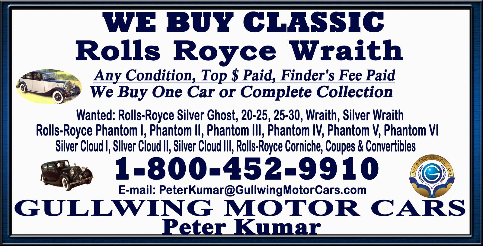 Sell Classic Rolls Royce Wraith | Call Gullwing Motor if Vintage Rolls Royce Wraith For Sale