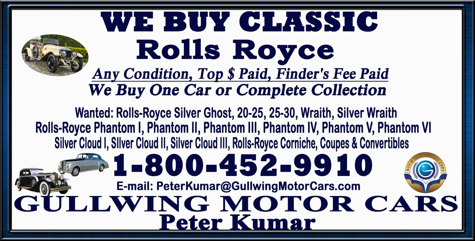 Sell Classic Rolls Royce | Call Gullwing Motor if Vintage Rolls Royce For Sale