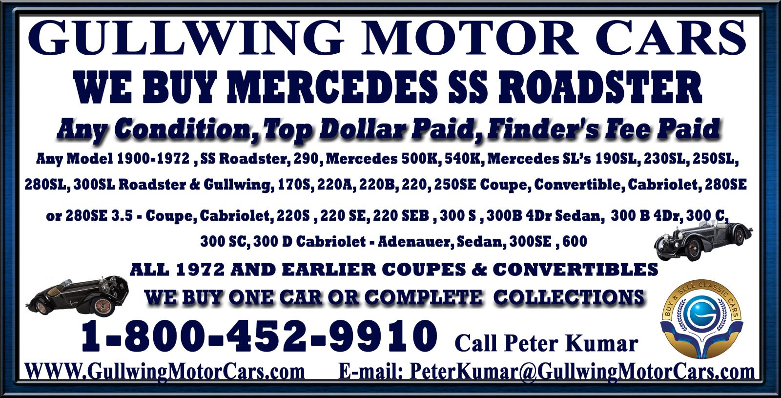 Selling Classic Mercedes SS Roadster | We Buy Vintage Mercedes SS Roadster | Call Gullwing Motor to Sell Classic Mercedes SS Roadster