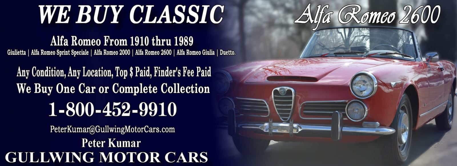 Classic Alfa Romeo 2600 for sale, we buy vintage Alfa Romeo 2600. Call Peter Kumar. Gullwing Motor