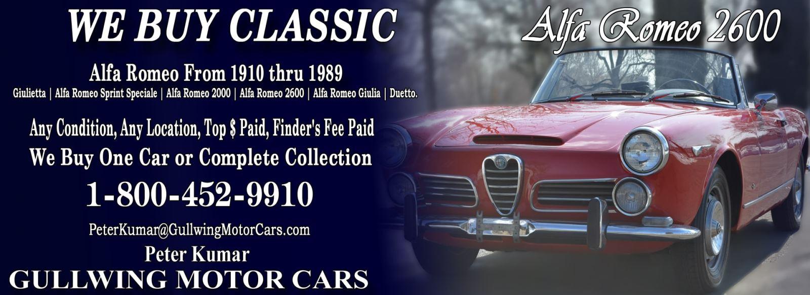 Classic Alfa Romeo 2600 for sale, we buy vintage Alfa Romeo 2600. Call Peter Kumar. Gullwing Motor
