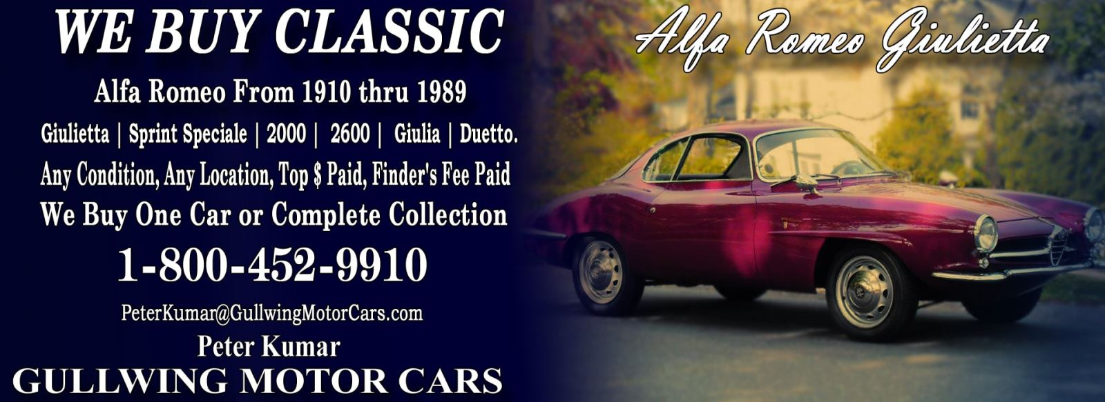 Classic Alfa Romeo Giulietta for sale, we buy vintage Alfa Romeo Giulietta. Call Peter Kumar. Gullwing Motor