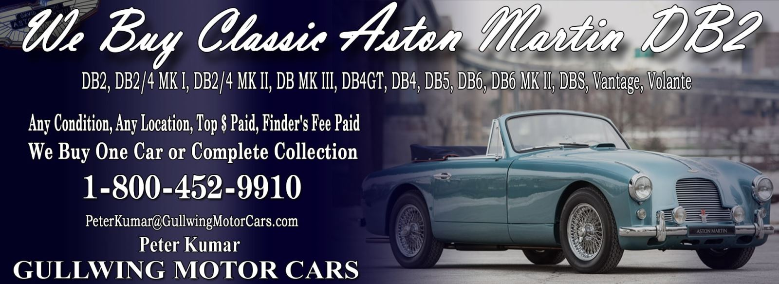 Classic Aston Martin DB3 for sale, we buy vintage Aston Martin DB3. Call Peter Kumar. Gullwing Motor