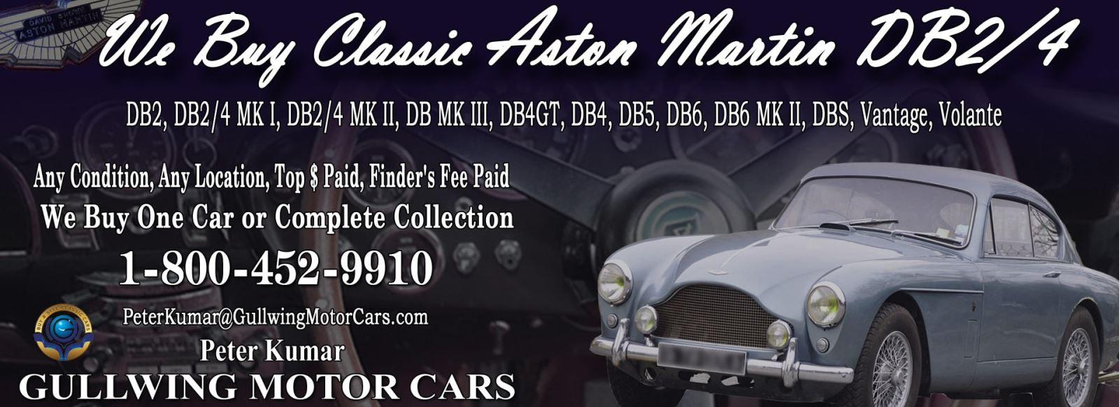 Classic Aston Martin DB2-4 for sale, we buy vintage Aston Martin DB2/4. Call Peter Kumar. Gullwing Motor