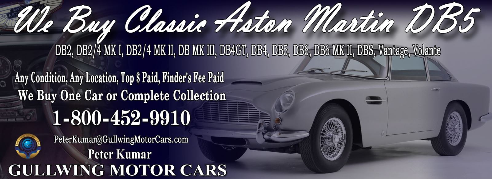 Classic Aston Martin DB5 for sale, we buy vintage Aston Martin DB5. Call Peter Kumar. Gullwing Motor
