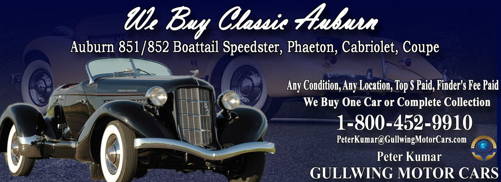 Classic Auburn for sale, we buy vintage Auburn. Call Peter Kumar. Gullwing Motor