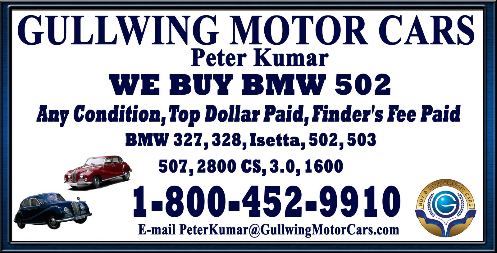 Sell Classic BMW 502 | Call Gullwing Motor if Vintage BMW 502 For Sale