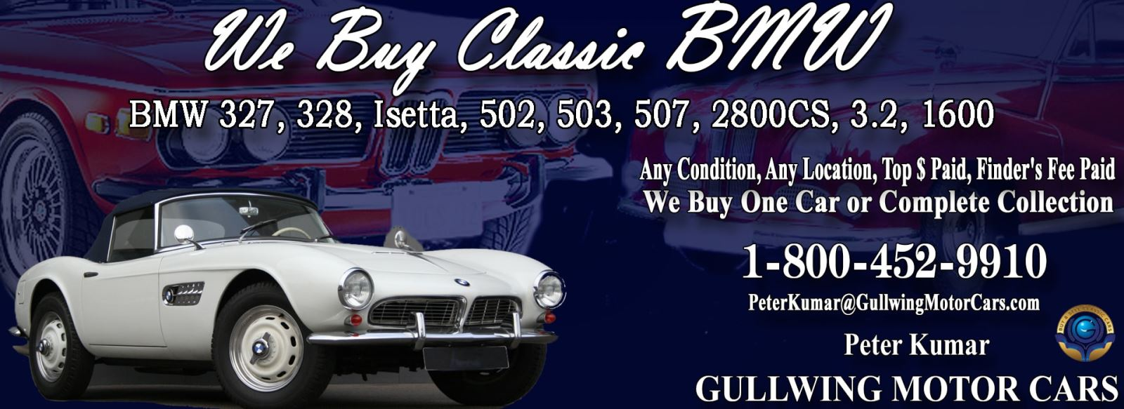 Classic BMW 507 for sale, we buy vintage BMW 507. Call Peter Kumar. Gullwing Motor