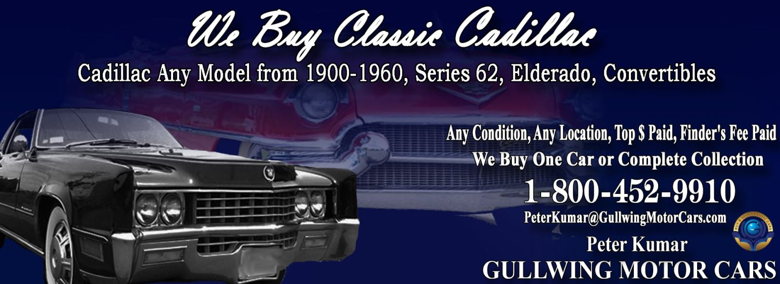 Classic Cadillac for sale, we buy vintage Cadillac. Call Peter Kumar. Gullwing Motor
