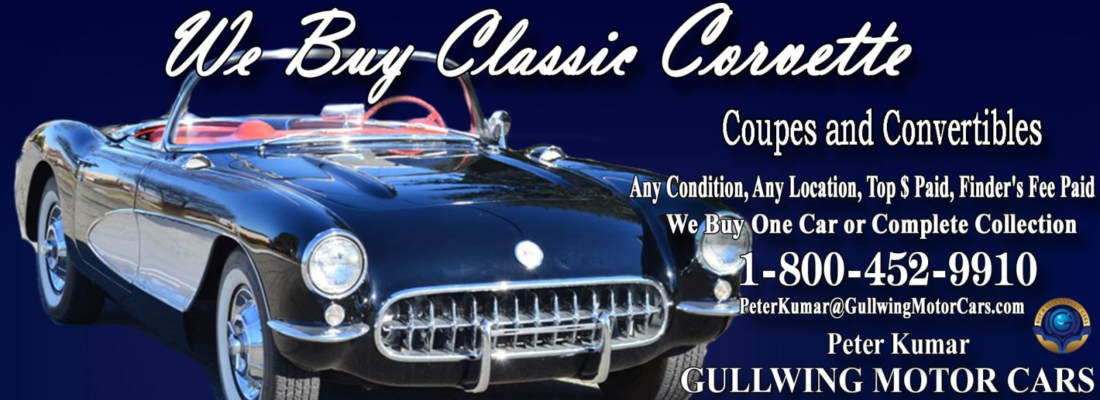 Classic Corvette for sale, we buy vintage Corvette. Call Peter Kumar. Gullwing Motor