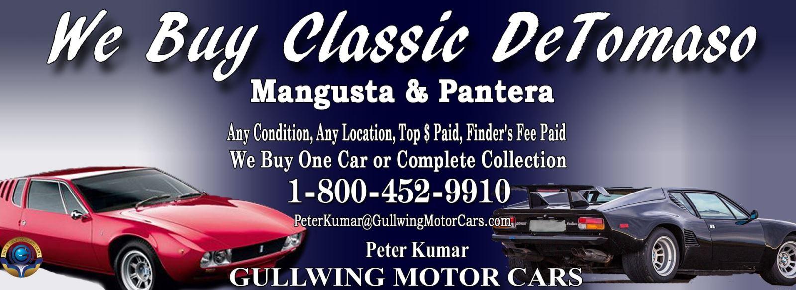 Classic De Tomaso for sale, we buy vintage DeTomaso. Call Peter Kumar. Gullwing Motor De Tomaso Panetra, De Tomaso Mangusta