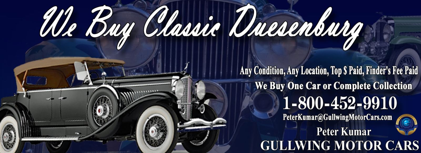 Classic Duesenburg for sale, we buy vintage Duesenburg. Call Peter Kumar. Gullwing Motor