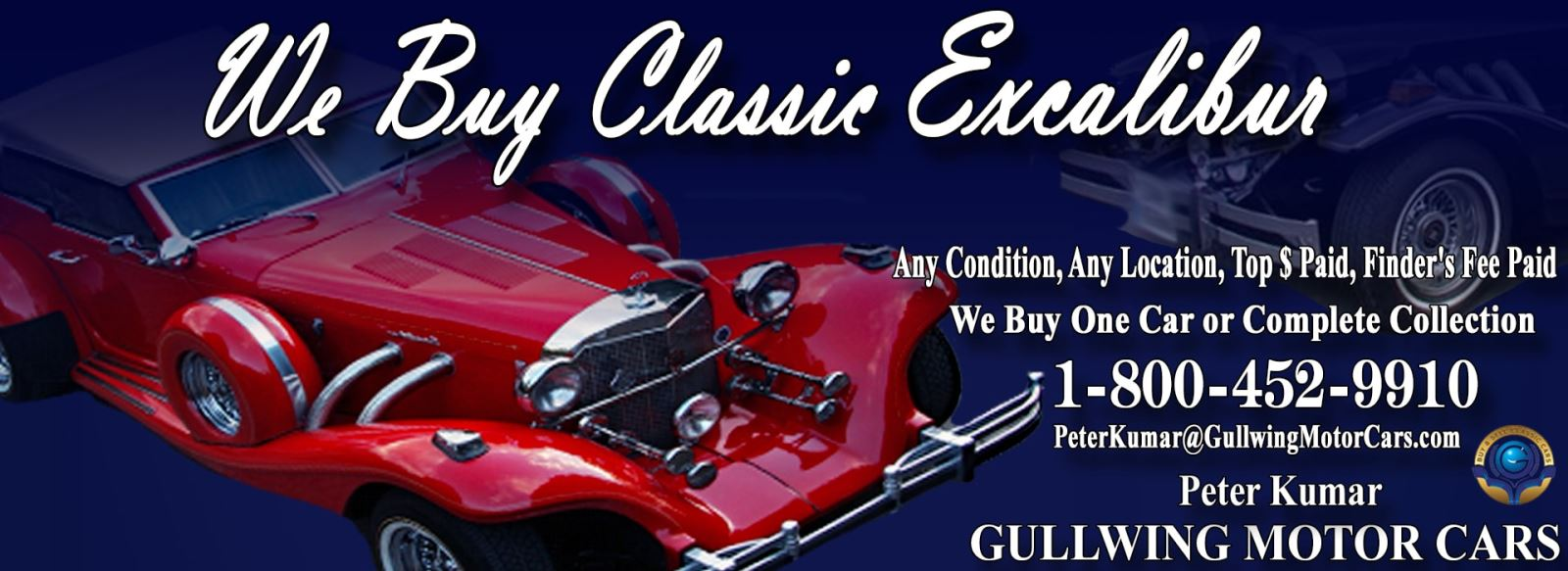 Classic Excalibur for sale, we buy vintage Excalibur. Call Peter Kumar. Gullwing Motor